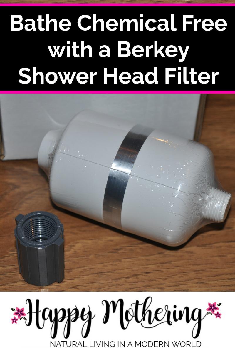 Berkey Shower head filter on a table