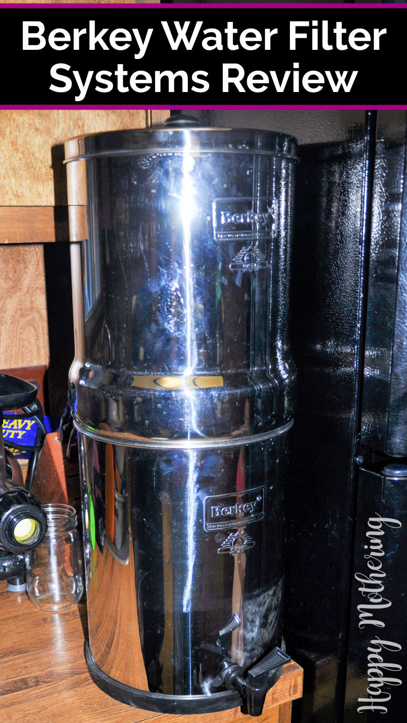 """Royal Berkey Water Filter on counter with label reading, """"Berkey Water Filter Systems Review."""""""