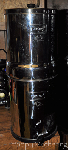 Royal Berkey Water filter on a kitchen counter next to the refrigerator