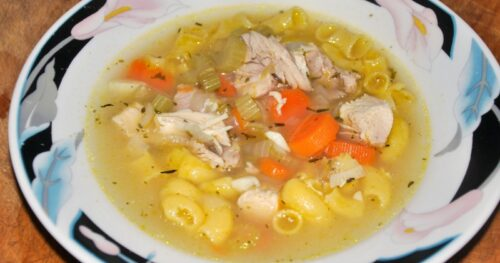 Bowl of homemade gluten free chicken noodle soup