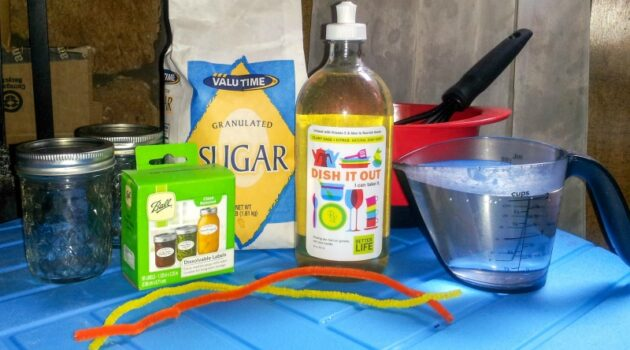 Supplies to make homemade bubbles