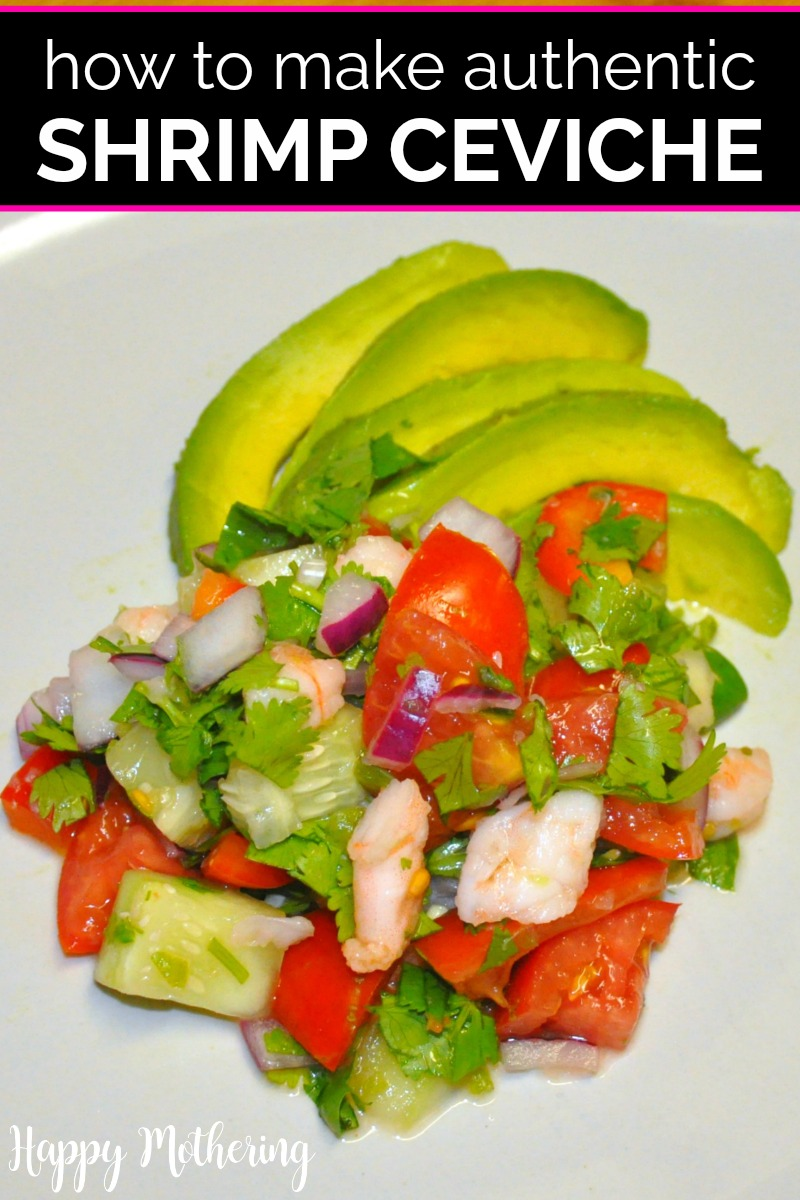 Overhead view of shrimp ceviche with avocado on a white plate