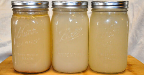 2 jars of homemade chicken stock that have been canned.