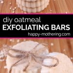 Two stacks of exfoliating oatmeal soap bars on a wood table; one tied with hemp twine