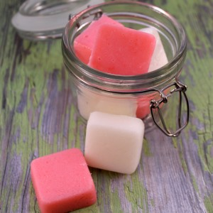Peppermint sugar scrub bars in a jar