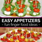 Caprese skewers on a square white plate and antipasto skewers on a separate white plate ready to serve as appetizers at a party