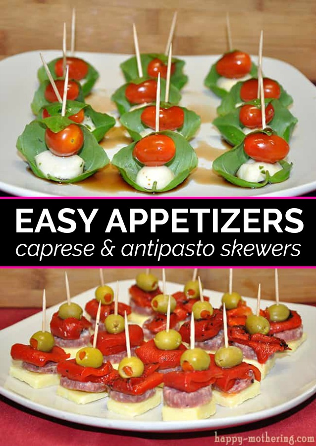 Are you looking for a delicious appetizer to bring to a party? These caprese & antipasto skewers are easy appetizers to make on short notice! And they're delicious too!