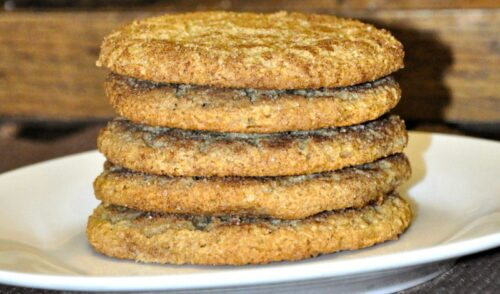 Close up of a stack of homemade gluten free snickerdoodle cookies