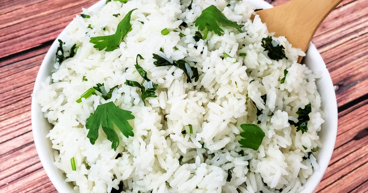 Closeup of homemade cilantro lime rice.