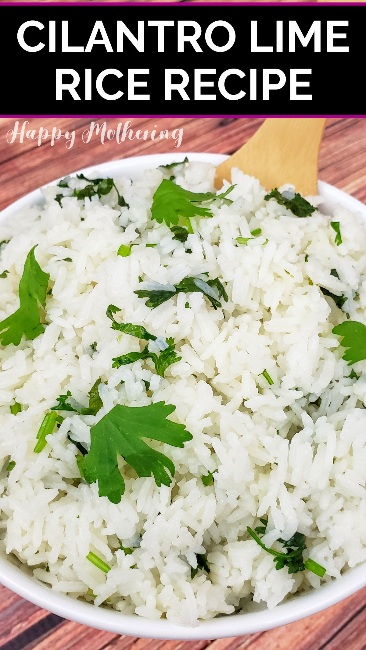 Cilantro Lime Rice being served in a bowl with bamboo spatula.