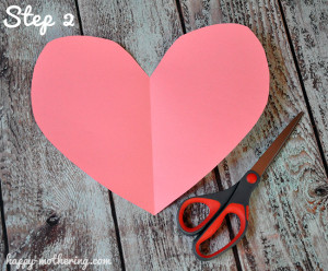 Heart cut out of pink construction paper