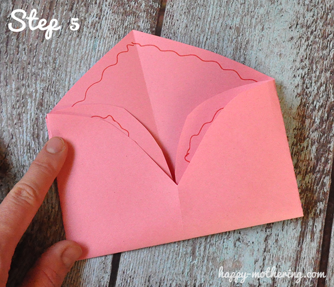 Heart folded over to look like an envelop