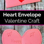 DIY heart envelope Valentine's Card shown folded and unfolded