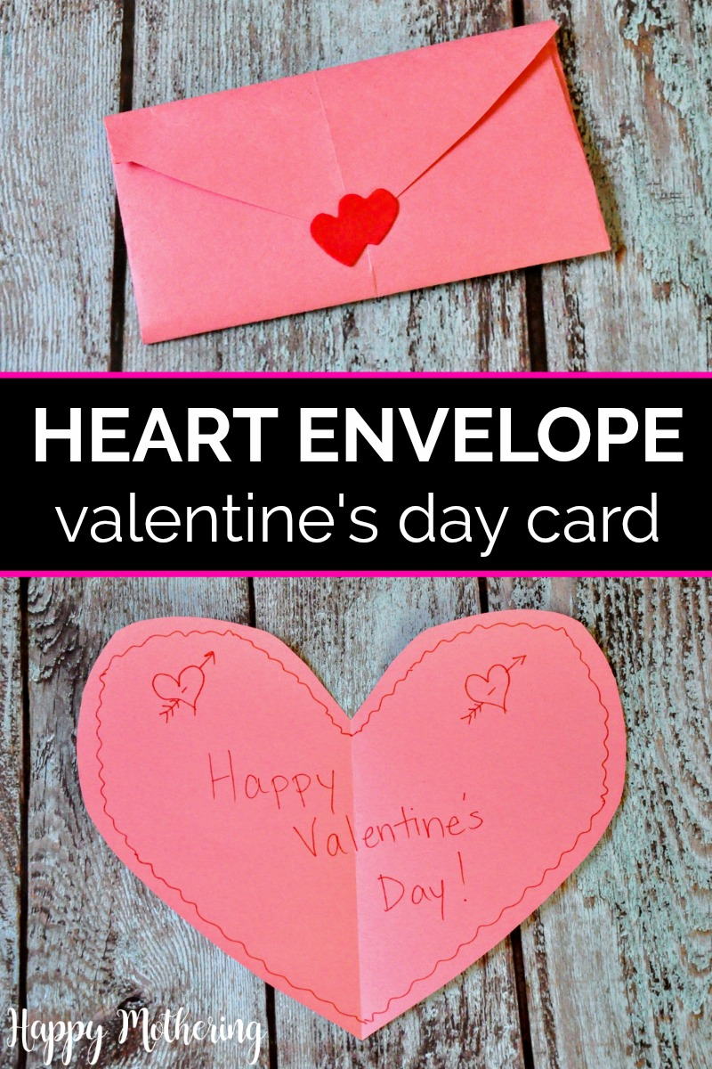 Folded and unfolded heart envelope card that reads Happy Valentine's Day
