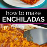 Two chicken enchiladas served on a plate and a casserole dish filled with more