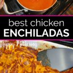 Enchilada sauce in a saucepan and a casserole dish filled with chicken enchiladas