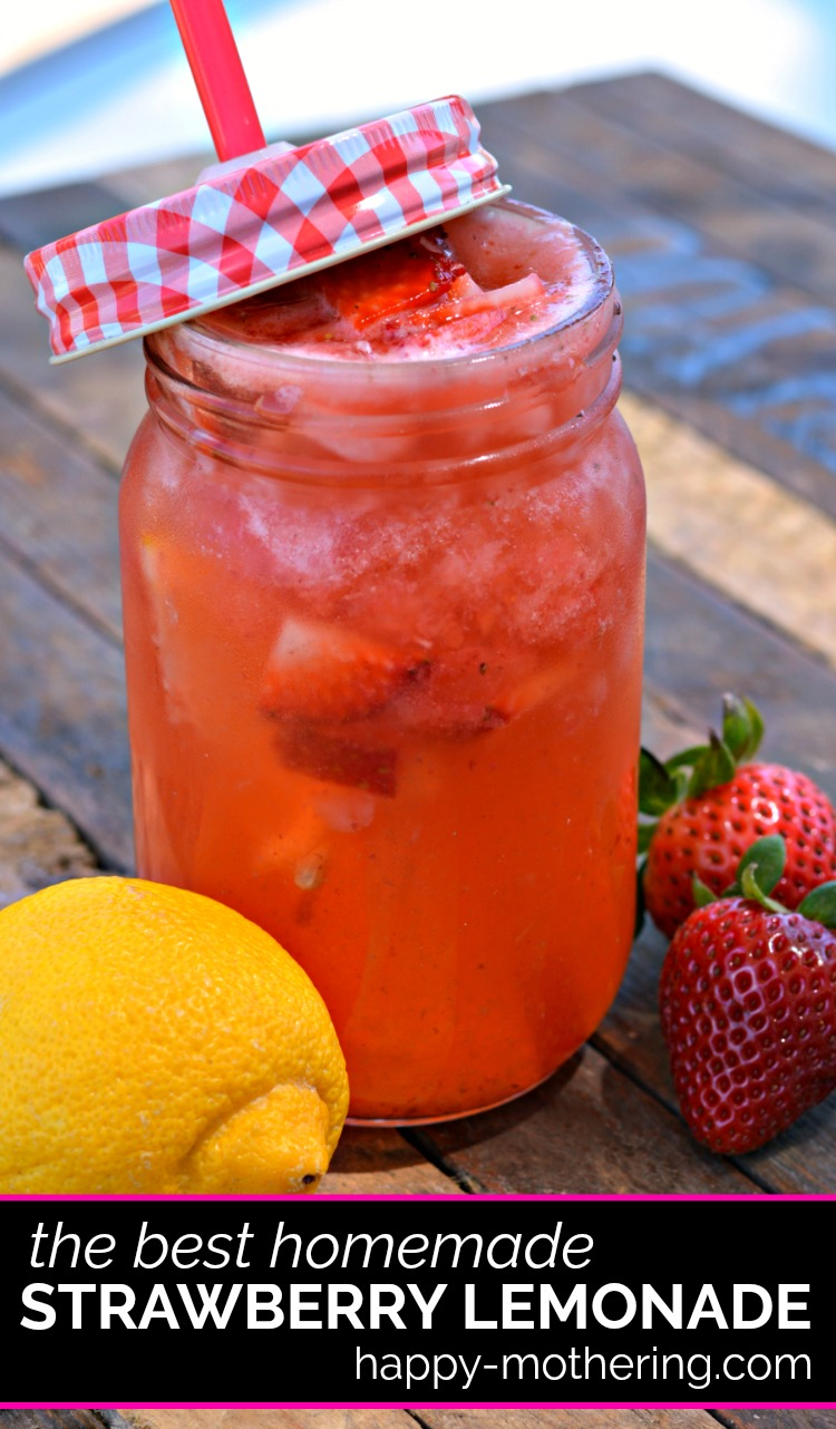 Sipping on lemonade reminds me of childhood, so I love making it from scratch. This homemade strawberry lemonade is the best, most refreshing treat after a long day in the sun!