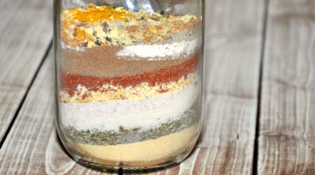 Close up of layered Jamaican Jerk Spice Mix in jar