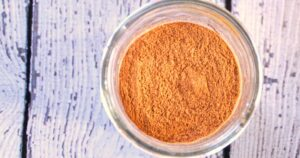 Pumpkin spice mix on a white table