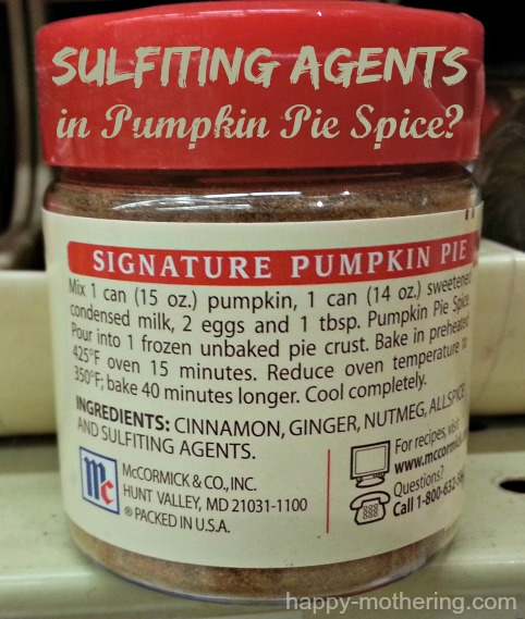 Sulfiting agents used in pumpkin pie spice shown on McCormick's bottle