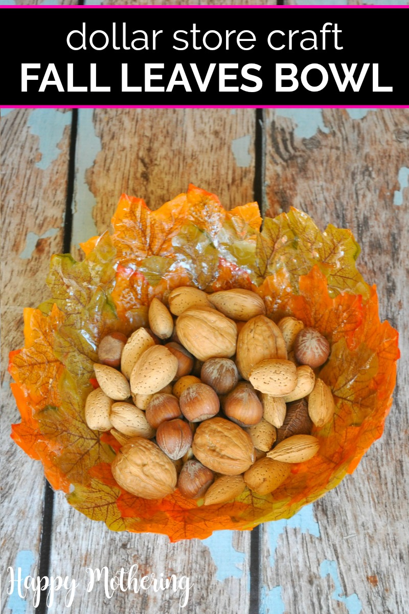 Fall leaves bowl made from dollar store crafts