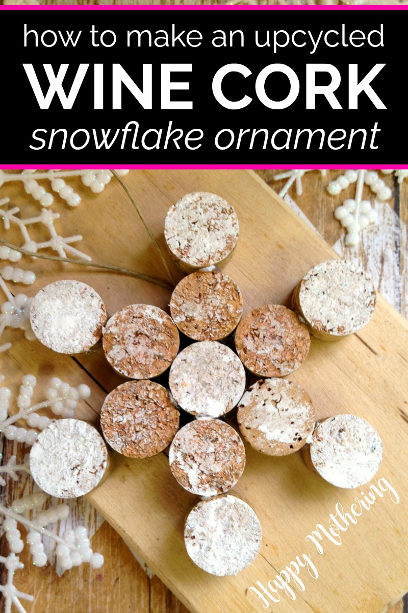 Homemade snowflake ornament made from upcycled wine corks, hot glue and white paint