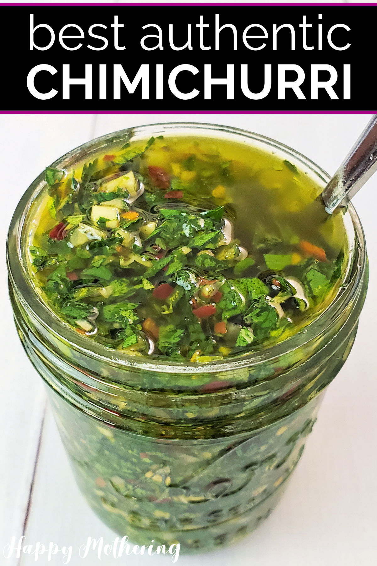 Chimichurri sauce in pint sized mason jar with spoon for serving