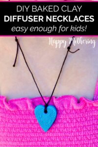 Kaylee wearing the blue heart clay essential oil diffuser necklace