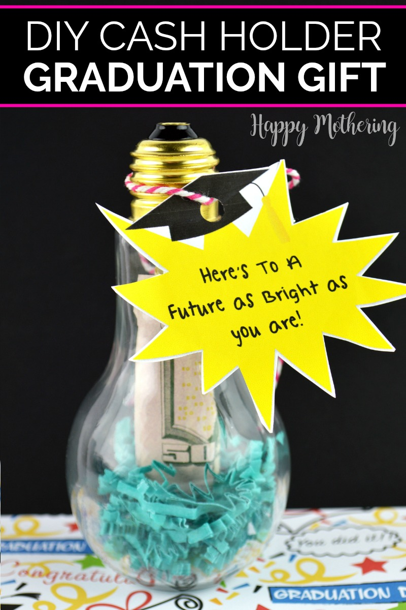 "Craft lightbulb with blue stuffing and a $50 bill inside with a label that reads, ""Here's to a future that's as bright as you are"""