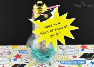DIY Graduation Gift made from and empty lightbulb filled with money