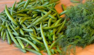 Green beans and fresh dill on bamboo cutting board