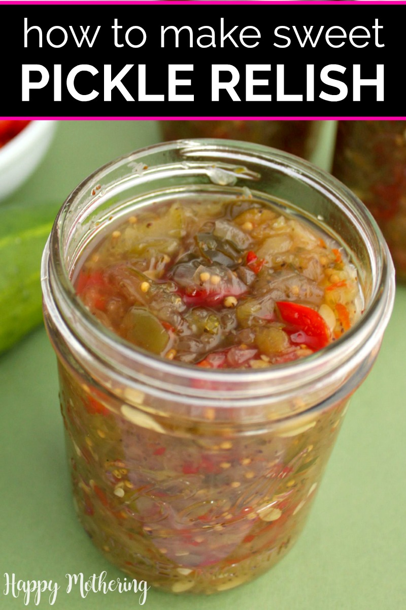 Close up of pint of homemade sweet pickle relish