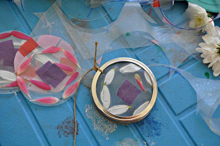 Hemp twine tied onto mason jar ring made into a hanging suncatcher