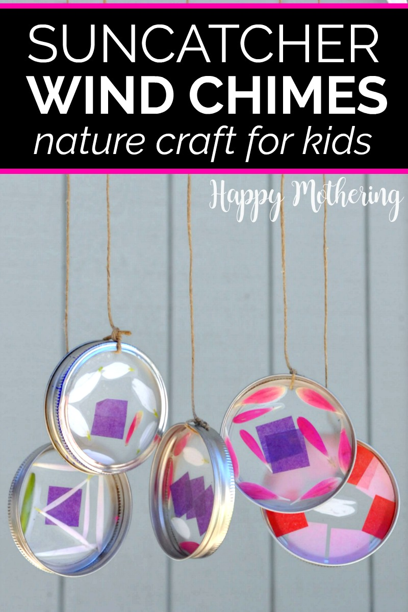 Five mason jar rings made into ahanging suncatcher wind chimes