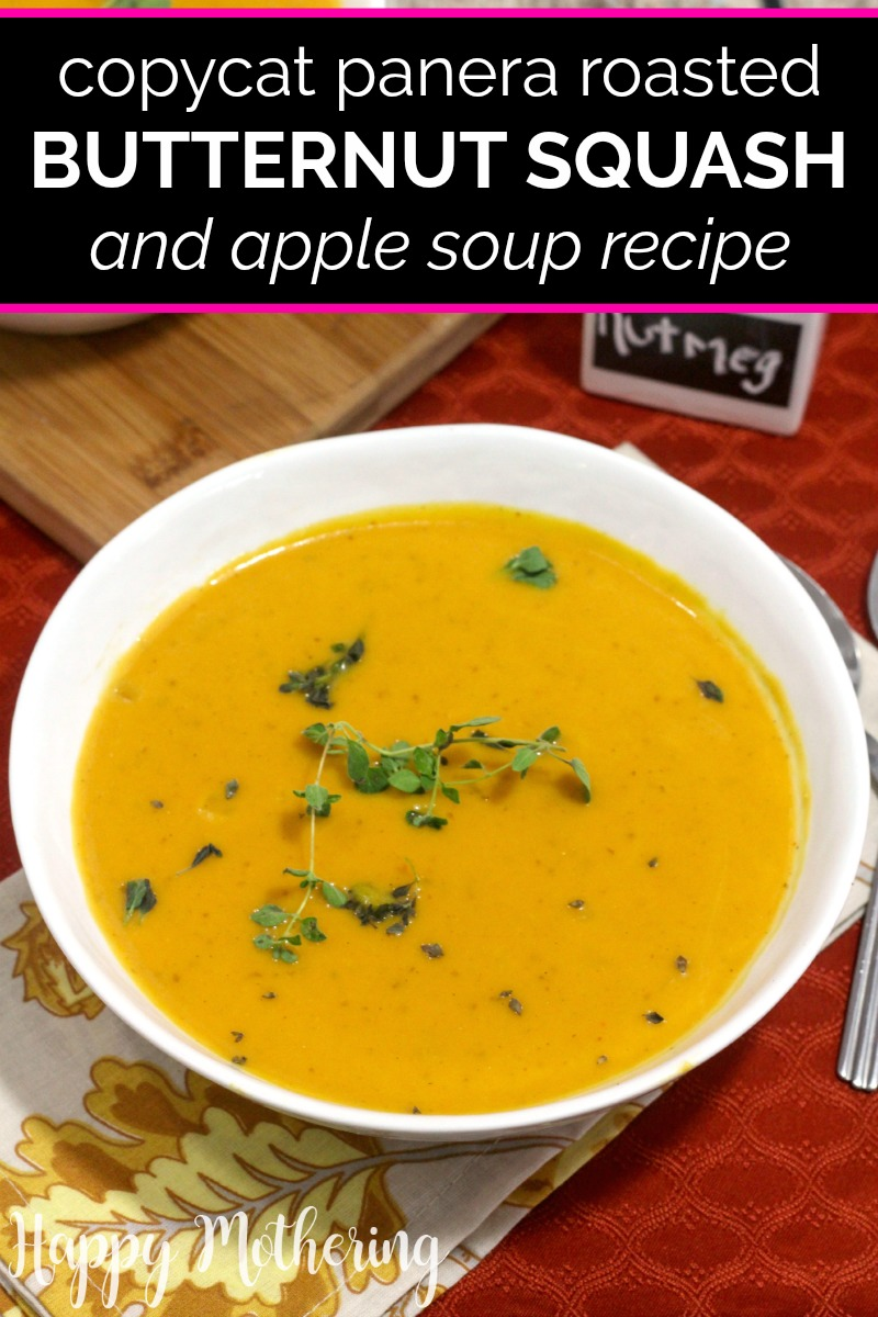 White ceramic bowl of healthy butternut squash soup with a red background