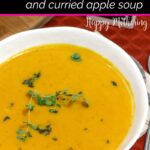 Easy roasted butternut squash soup on the table for lunch