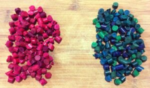 Chopped up red and green crayon pieces