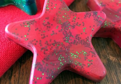 Homemade red star glitter crayon made from melted crayons