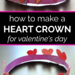 Side and overhead views of a pink and purple paper heart crown for Valentine's Day