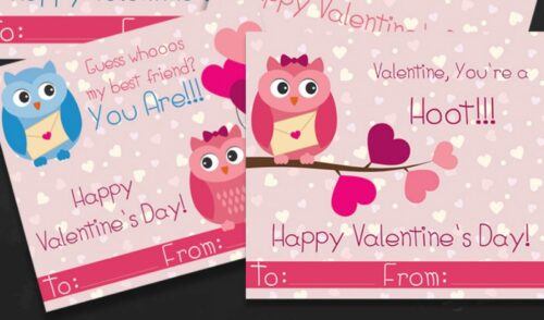 Close up of two of the printable owl Valentine's Day cards