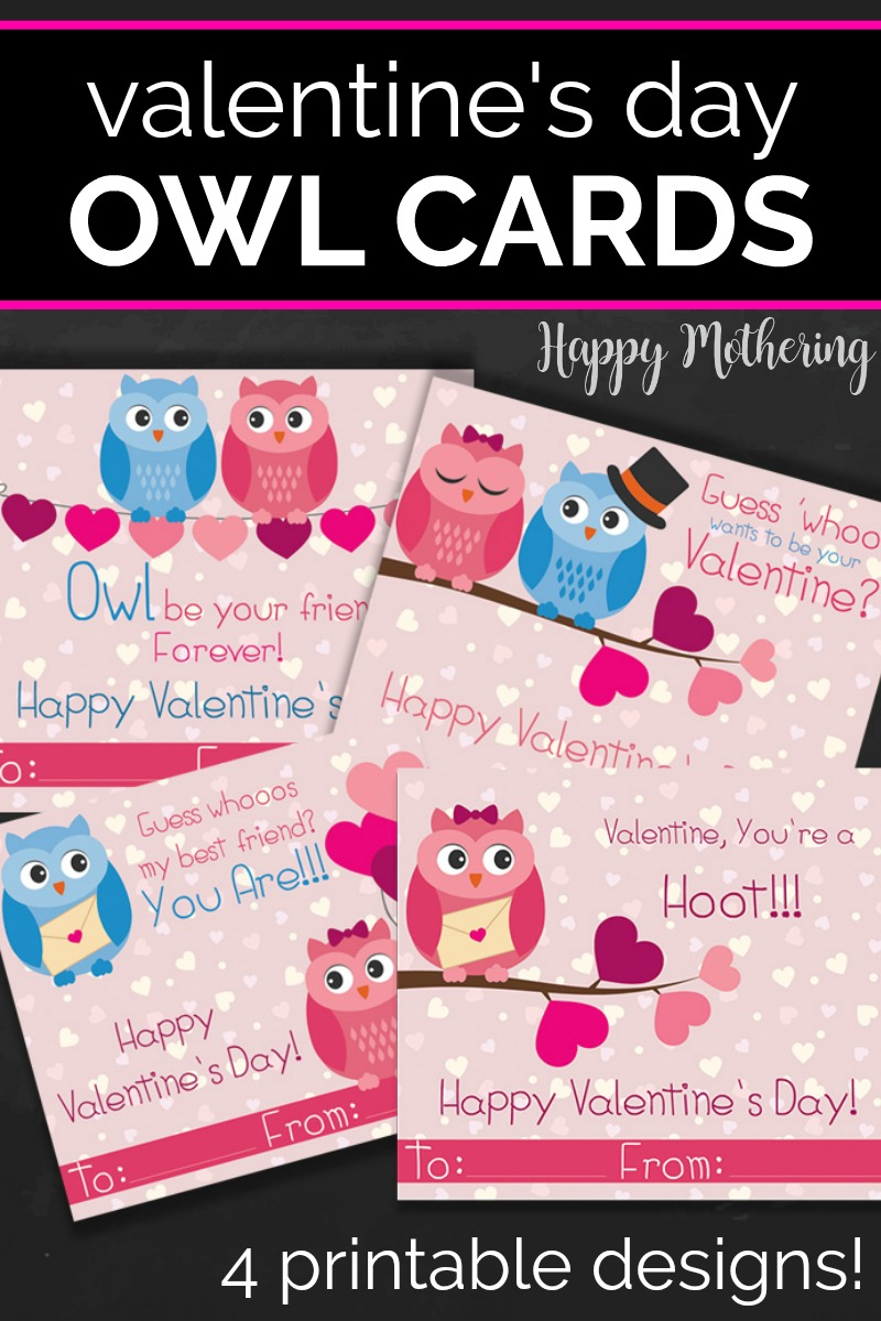 Images of printable owl themed Valentine's Day cards