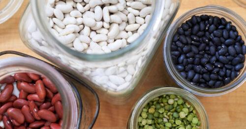 White beans, kidney beans, black beans and split peas in jars.