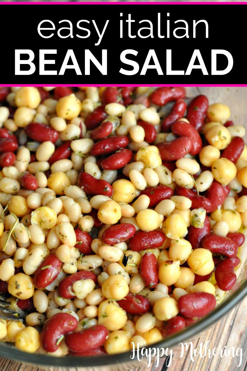 Close of Italian Three Bean Salad in a clear glass bowl