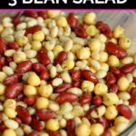 Italian marinated three bean salad in a glass bowl
