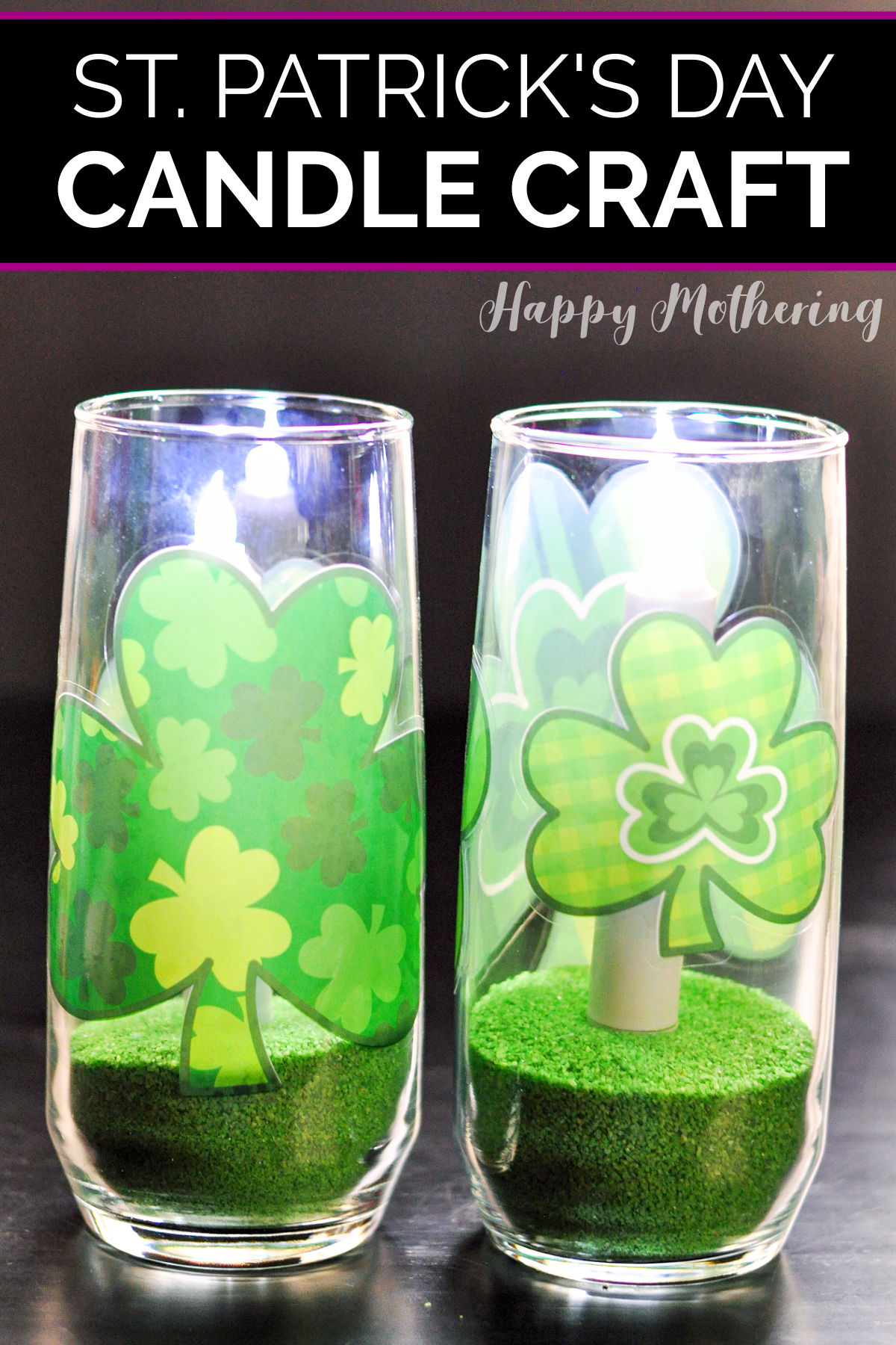 St. Patrick's Day dining table centerpiece featuring Shamrocks