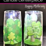 Shamrock Flameless Candle Centerpiece on the table for St. Patrick's Day