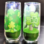 Close up of finished Shamrock Flameless Candles for St. Patrick's Day