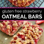 Strawberry oatmeal bars on a cooling rack before being cut, then the cut bars on a cookie sheet below it