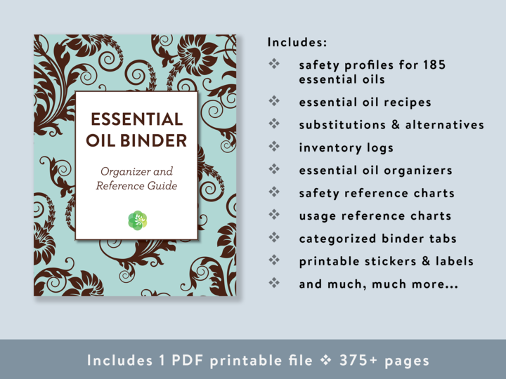 Essential Oil Binder cover image with bullet points of what's included