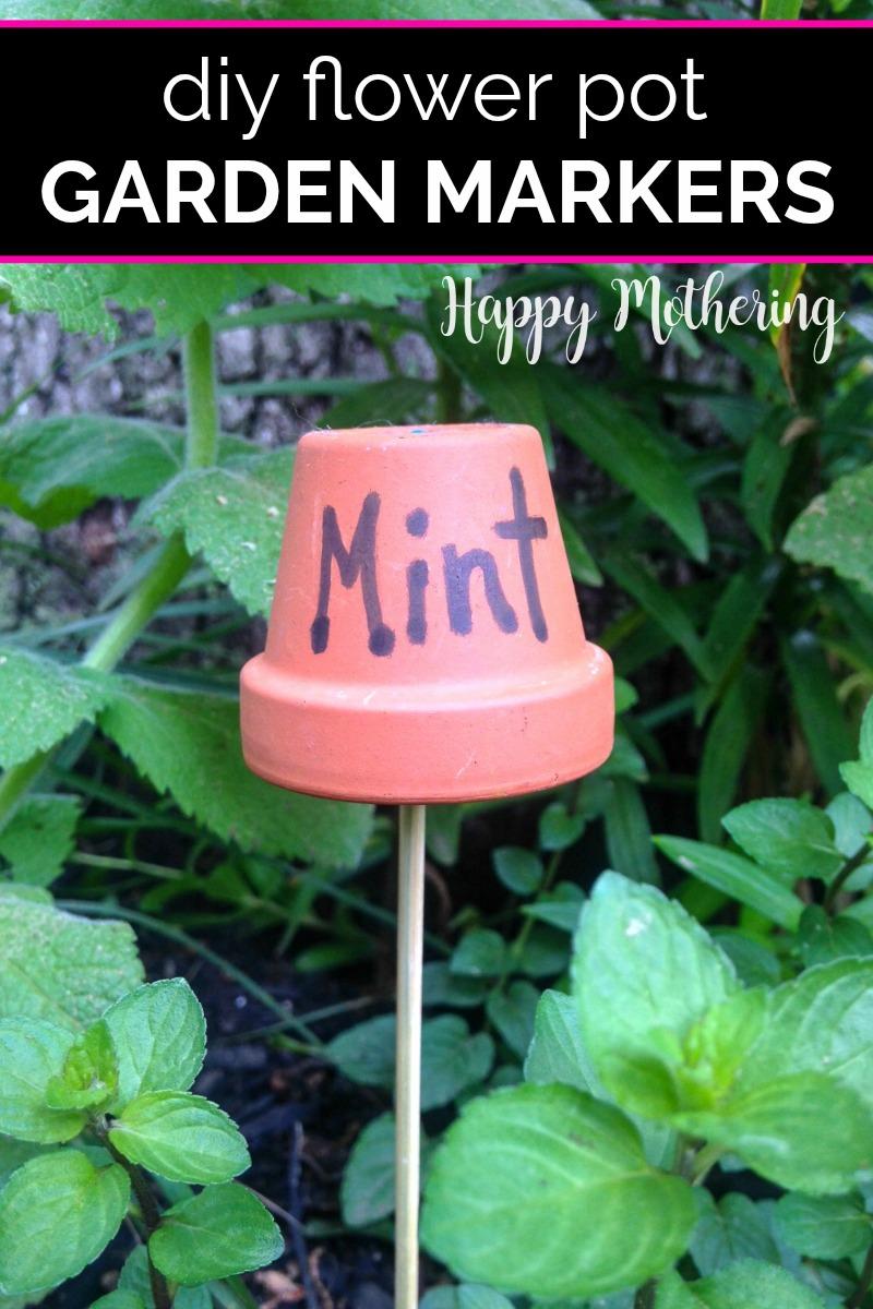 Mint flower pot garden marker